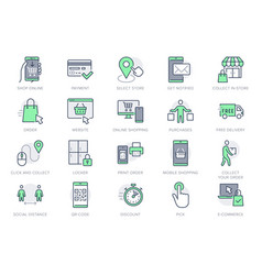Click and collect service line icons vector