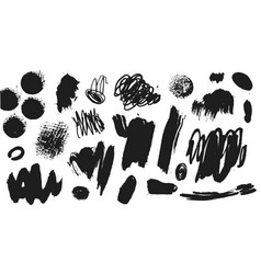 collection black paint ink brush vector image