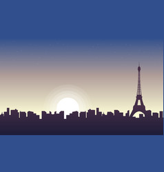 Collection of paris scenery at sunrise silhouettes vector