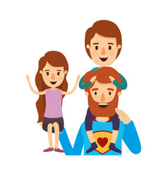 Colorful caricature half body super dad hero with vector