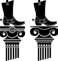 Columns and boots with spurs stencils vector
