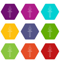 compass icons set 9 vector image