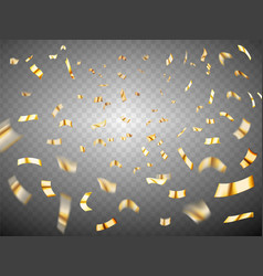 confetti explosion on transparent background gold vector image