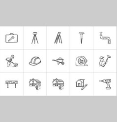 Construction hand drawn sketch icon set vector