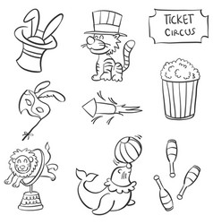 Cute animal circus doodle style vector