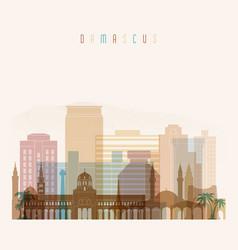 Damascus skyline detailed silhouette vector