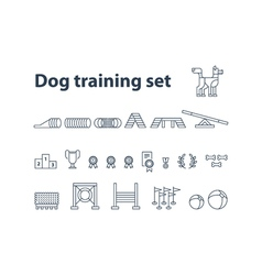 Dog show exhibition event icons vector