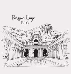 Drawing sketch parque lage in rio brasil vector