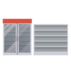 empty fridge and shelves vector image