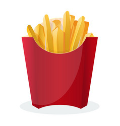 french fries in red package isolated on white vector image