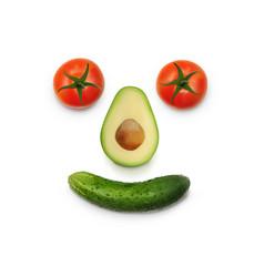 funny happy vegan smiling concept top view vector image