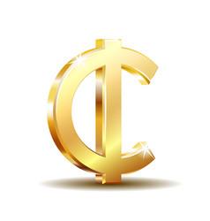 Ghana cedi currency symbol gold money sign vector