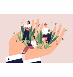 giant hands holding tiny office workers concept vector image