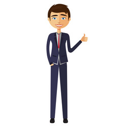 Glad young businessman showing thumb up vector