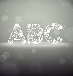 Glowing Font from A to C on Bokeh Backgroun vector image