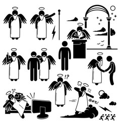 god angel heaven paradise stick figure pictograph vector image