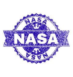 Grunge textured nasa stamp seal with ribbon vector