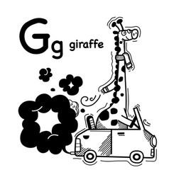Hand drawnalphabet letter g-giraffe vector