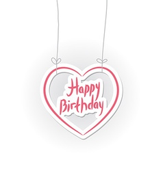 Happy birthday pink heart on White background vector image