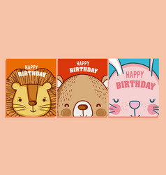 happy birthday to you cards animal cartoon vector image