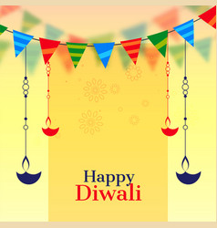 Happy diwali celebration background with hanging vector