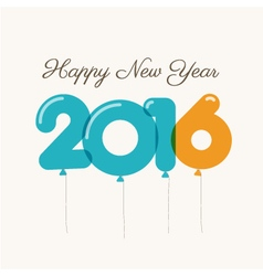 Happy new year 2016 card balloons font vector