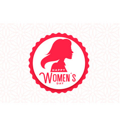 Happy womens day event label with face vector