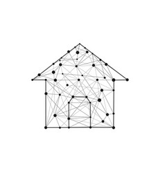 house building icon composed of polygons lines and vector image
