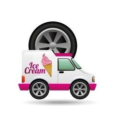 Icecream truck and wheel icon design vector