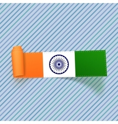India flag on realistic scroll paper label vector