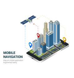 Isometric smart city or mobile navigation concept vector