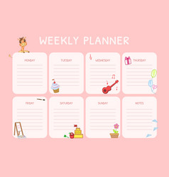 kids weekly planner calendar daily pink template vector image