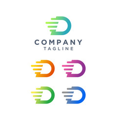 Letter d tech logo design vector