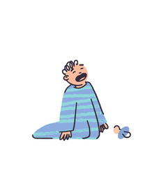 little boy crying in pajamas in flat style vector image