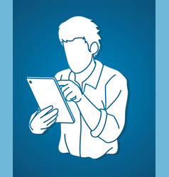 man using digital tablet cartoon graphic vector image