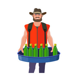 man with vending tray vector image