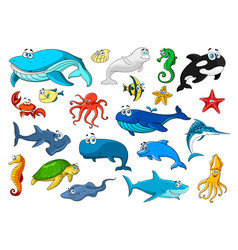 Marine animal isolated cartoon icon set vector