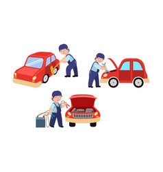 Mechanic cleaning fixing and jump starting a car vector