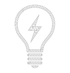 mesh electric bulb icon vector image