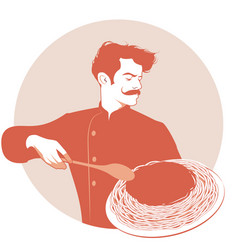 Moustached chef carrying a plate of spaghetti and vector