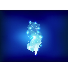 New Jersey state map polygonal with spot lights vector image