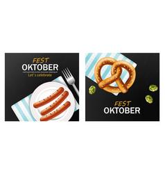 october fest poster realistic pretzel and vector image