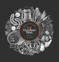 Octoberfest design template hand drawn on chalk vector