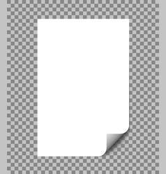 paper sheet wrapped with shadow blank a4 paper vector image