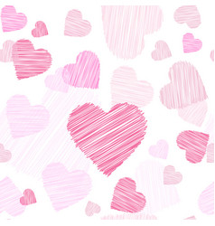 pink hearts sketch seamless pattern valentines day vector image