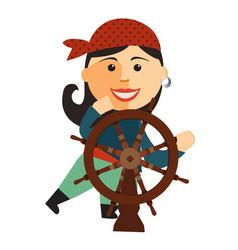 Pirate girl at the rudder flat cartoon vector