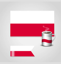 Poland flag printed on coffee cup and small flag vector