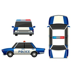 Police car in three different angles vector image