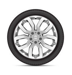 Realistic car wheel alloy sport on white vector