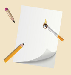 realistic pencils on blank paper with smoking vector image